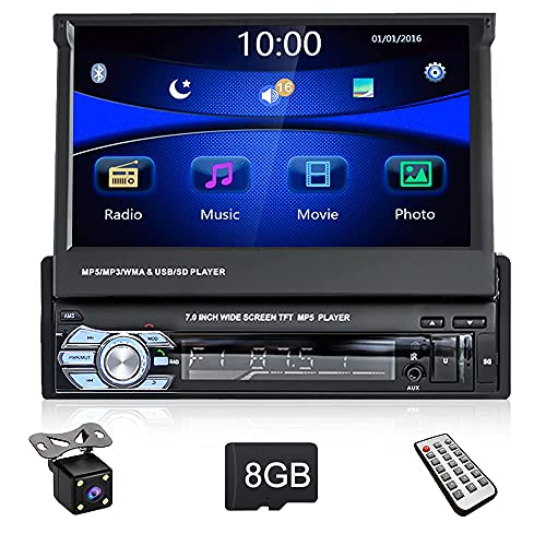 1 DIN Radio de Coche GPS CAMECHO 7 'Pantalla táctil Plegable 1080P Carro Multimedia Jugador con 8G Mapa Tarjeta, Soporte Mirror Link Android/iOS Navegación Bluetooth FM+Cámara de visión Trasera