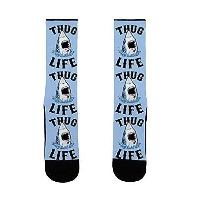 LookHUMAN Thug Life Shark US Size 7-13 Socks