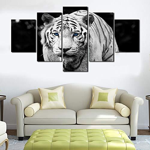 WGWNYN Un5 Paneles Animal White Tiger Animal Art Pictures Pinturas sobre Lienzo Arte de Pared para decoración del hogar Decoración de Pared Obra de Arte Sin Marco 20x30 20x40 20x50cm