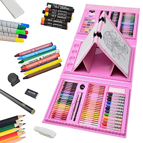 Sunnyglade 185 Pieces Double Sided Trifold Easel Art Set, Drawing Art Box with Oil Pastels, Crayons, Colored Pencils, Markers, Paint Brush, Watercolor Cakes, Sketch Pad (Pink)