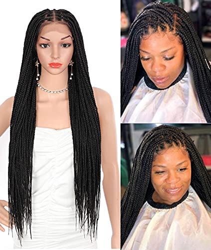 """Beauart 30 inch 13X6"""" Swiss Lace Front Knotless Box Braided Wigs 100% Hand-Braided Box Braided Wigs with Baby Hair for Black Women Japan-made Synthetic Lightweight Twist Braids Wigs"""