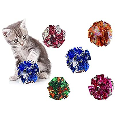 WANBAO 2 Inch Crinkle Balls Cat Toys, Original Mylar Crinkle Balls for Cats 15 Pcs by WANBAO