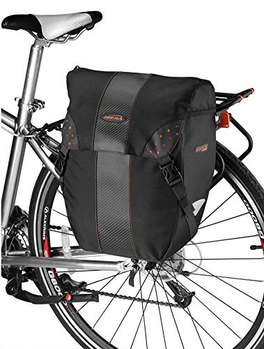 Ibera Bicycle Bag PakRak Clip-On Quick-Release All Weather Bike Panniers (Pair), Includes Rain Cover , Black