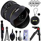 Oshiro 8mm f/3.5 HD Aspherical Fisheye Lens & Removable Hood for Canon EOS Digital SLR Cameras 80D, 77D, 70D, 60D, 7D, 6D, 5D, 7D Mark II, T7i, T6s, T6i, T6, T5i, T5, SL1 & SL2 Digital SLR Cameras