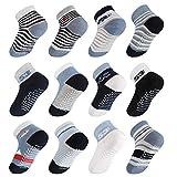 Licitn 12 Pares de Calcetines Antideslizantes para Bebés- Calcetines de Algodón de Bebés con Diseño Antideslizante para Bebés de 0-36 Meses (1-3 años(15cm))