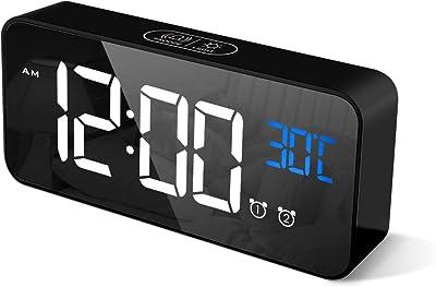 CHEREEKI Digitaler Wecker, LED Digitaluhr mit Temperaturanzeige Tragbarer Spiegelalarm Tischuhr mit 2 Alarmen 13 Alarmtöne USB Wiederaufladbar 4 Helligkeit und Lautstärke Regelbar, 12/24 Stunden