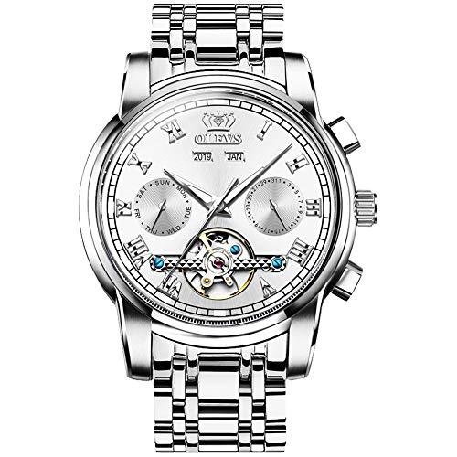Reloj Automático para Hombre Reloj Tourbillon Mecánico Impermeable de Acero Inoxidable Regalo para Hombre