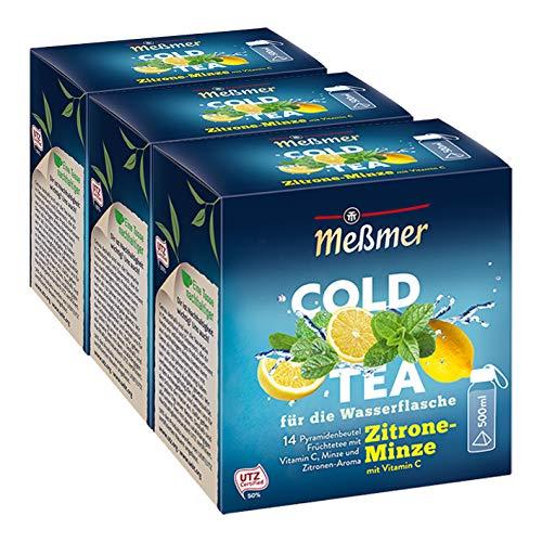 Meßmer Cold Tea Zitrone-Minze, 14 Pyramidenbeutel, 3er Pack
