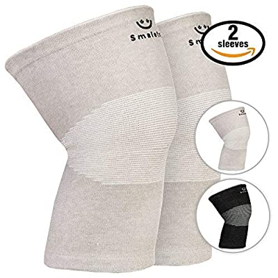 Smalets Bamboo Compression Knee Support Sleeves (1 Pair) –Powerful Joint Protection for Cross Training, Weightlifting, Running & More