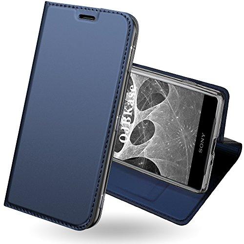 OJBKase Sony Xperia XZ2 Compact Hülle, Premium Slim PU Leder Handy Schutzhülle [Standfunktion] Hülle/Cover/Brieftasche/Ledertasche Tasche Lederhülle Handyhülle für Sony Xperia XZ2 Compact (Blau)