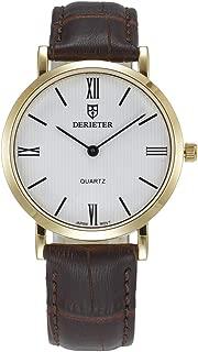 Two Hands Men Women Quartz Watch Japan Movement Wristwatch Leather Strap Waterproof Wrist Watch Roman Numerals