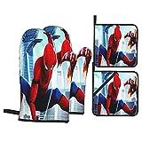 Large Puzzle Spiderman Gants de cuisine en silicone résistants à la chaleur, antidérapants en coton matelassé pour la cuisine, le grill, la pâtisserie, le barbecue