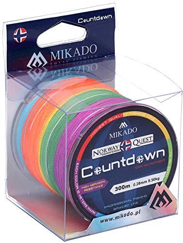Mikado Norway Quest Countdown, rund geflochtene, mehrfarbige Angelschnur, von 0,16mm (12,6kg) bis 0,45mm (37,5kg), Länge 300m (300, 0,20mm - 16,8kg)