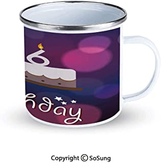 16th Birthday Decorations Sportsmans Camping Enamel Travel Mug,Cake Candle Anniversary of Birth Best Wishes Young Image Outdoor Enamel Mug,Fuchsia Dark Blue