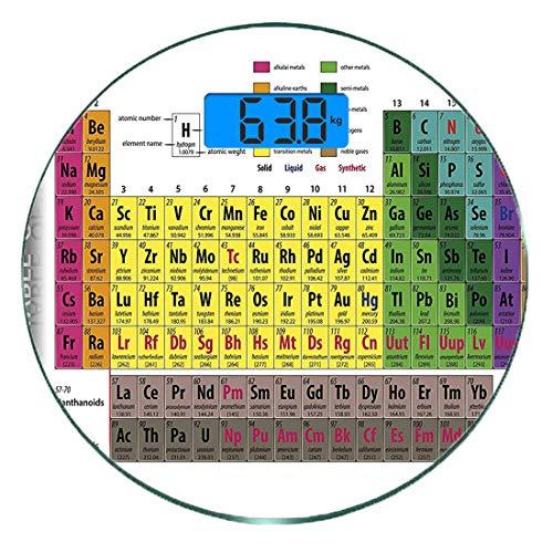 Escala digital de peso corporal de precisión Ronda Moderno Báscula de baño de vidrio templado ultra delgado Mediciones de peso precisas,Tabla periódica de elementos PHD Estudiante de química Familia p