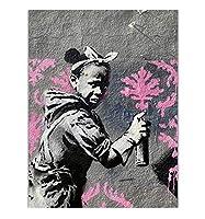 バンクシーテーマ画像壁アート、現代の抽象的なストリート壁落書きアート絵画アートワーク用ホームリビングルーム寝室の装飾、キャンバスプリントポスター,African girls,40×60cm