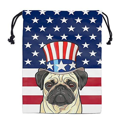 Drawstring Storage Bag Grip Bags - Gymnastics Grips Bag Patriotic Pug Drawstring Bag Dog Print Shoe Pouch Storage Travel Organizer Bag American Flag Drawstring Bags for Party Gym Daily Use