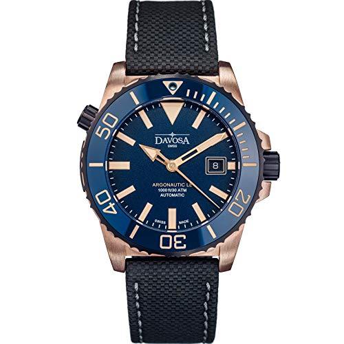 Davosa Schweizer Automatik Taucheruhr Analog Argonautische Wasserdicht Sport Armbanduhr für Herren mit stilvollem Armband Bronze, Blau