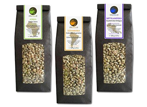 Rohkaffee - Grüner Kaffee Kenia, Kolumbien, Guatemala (grüne Kaffeebohnen Sparpack 3x500g)