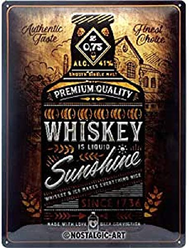 Nostalgic-Art Open Bar 23281 - Whiskey Sunshine - Idea de regalo para fans de las bebidas espirituosas, Retro Cartel de chapa de metal, decoración vintage, 30 x 40 cm