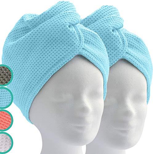 ELEXACARE Haarturban, Turban Handtuch mit Knopf (2 Stück, blau) Mikrofaser Handtuch für Kopf und Lange Haare