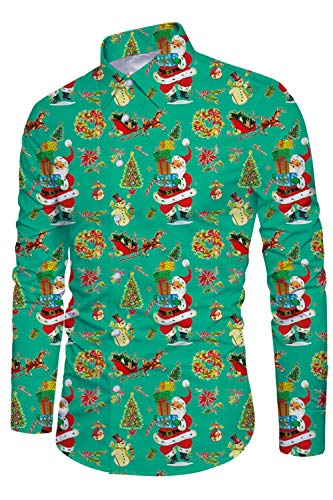 Funnycokid Youth Ugly Christmas Camisa Impreso Manga Larga Flamingo con botn Funny Fiesta Estilo Hombres Navidad Ugly Christmas Camisas Verde