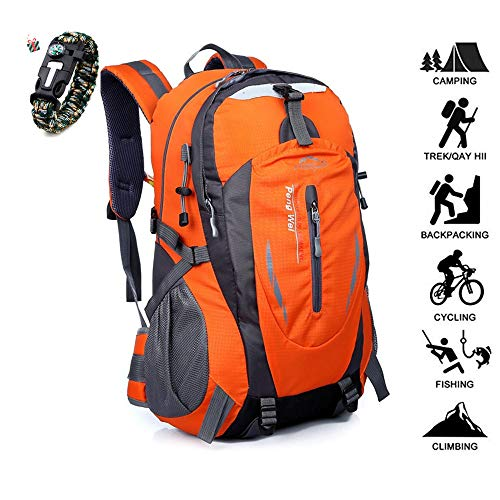 Odot Sac à Dos Compact et Léger de Voyage et Randonnée Sac à Dos de Camping Pliable 40-50L, Sac à Dos de Sport en Plein air (50L,Orange)
