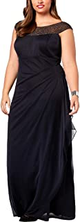 Womens Plus Embellished Ruched Evening Dress