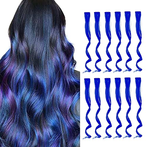 TENGNIUNIU Colored Hair Extensions Clip in Blue 12 Pieces Highlights Party for Kids Girls Women 16 Inch Wavy Curly Synthetic