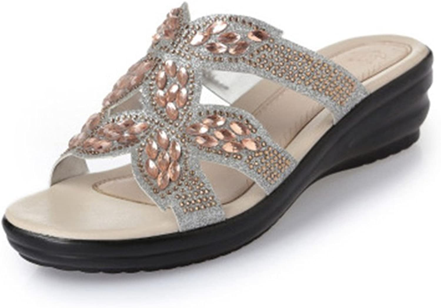 GIY Womens Rhinestone Low Wedges Slide Sandals Strappy Open Toe Platform Comfort Sparkly Dress Sandals