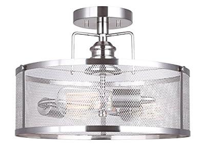 CANARM LTD ISF626A03BN Beckett 3 Bulb Semi-Flush Mount, Brushed Nickel with Metal Mesh Shade, 3 Light