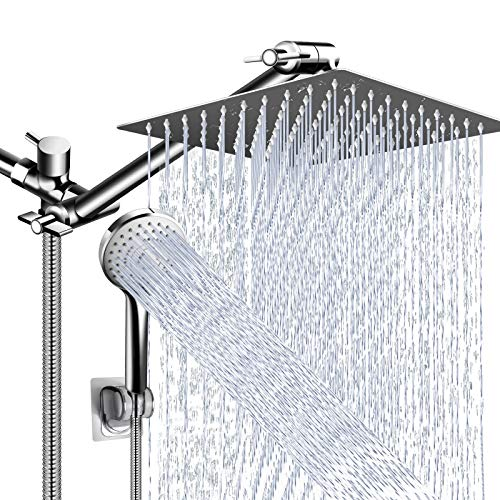 Shower Head Combo,10 Inch High Pressure Rain Shower Head with 11 Inch Adjustable Extension Arm and 5 Settings Handheld Shower Head Combo,Powerful Shower Spray Against Low Pressure Water with Long Hose