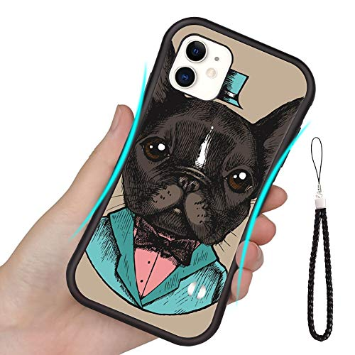 TPU Case Compatible for iPhone 7 & 8 [4.7'] French Bulldog in a Tuxedo Hand Drawn Vector Illustration Hipster Style