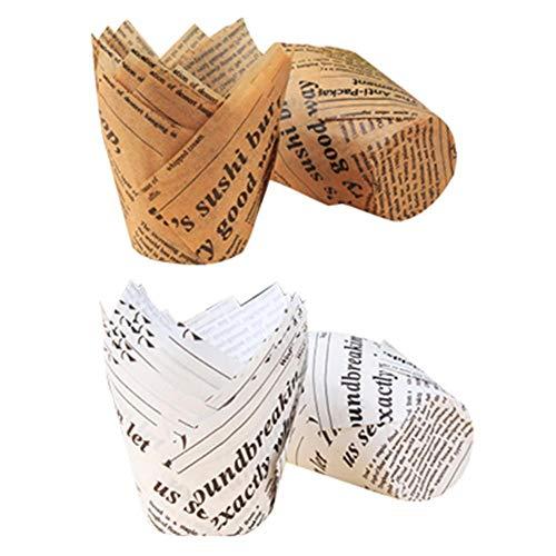 100PCS Cajas de magdalenas, tazas de papel de pastel de tulipán: a prueba de aceite para altas temperaturas,bandeja de papel de pan para hornear Copa para todo tipo de fiestas, banquetes, aniversarios