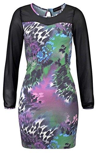 Melrose Damen Mini Kleid Stretchkleid Chiffonärmel Partykleid Abendkleid (34)
