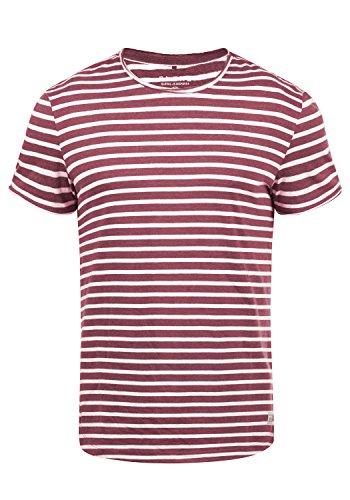 Blend Genesis Herren T-Shirt Kurzarm Shirt Streifenshirt Mit Streifen Und Rundhalsausschnitt, Größe:XL, Farbe:Zinfandel (73006)