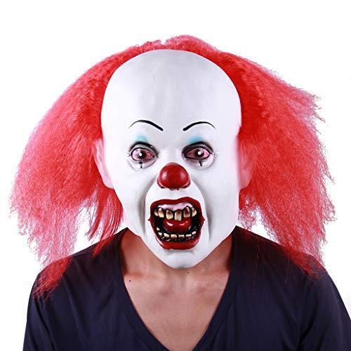 J_FEIFEI, maschera da clown per Halloween, horror zombie, capelli rossi, naso, jolly