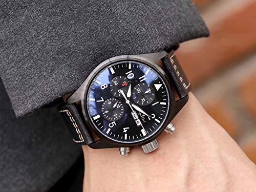 HHBB Marca de lujo hombres automático mecánico zafiro doble marrón cuero azul reloj negro caso Aaa+, Negro Negro