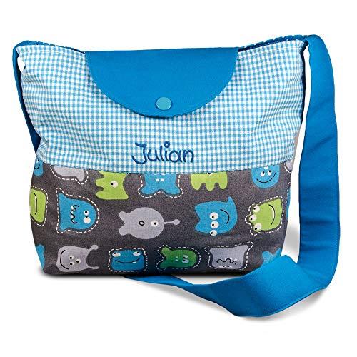 Kindergartentasche Monster und Schmetterling mit Namen Umhängetasche für Mädchen Jungen Kindertasche Tasche Freizeittasche Kindertasche, Farbe:türkis
