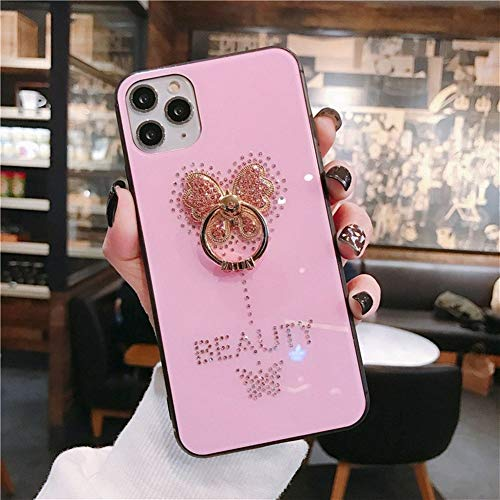 RUNEEE Diamante Mariposa de teléfono for el iPhone 11 Pro XS MAX XR 7 8 Plus de Moda Vidrio Templado contraportada (Color : Pink, Size : For iPhone X)