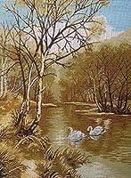 クロスステッチキット DIY 手作り刺繍キット マルチストランド綿糸ニットクロスステッチ刺繍キット- 白鳥の湖25x35cm(フレームレス)