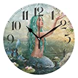ZZKKO Mermaid in The Sunset Wall Clock, Silent Non Ticking Battery Operated Easy to Read Decorative Wall Clock for Kitchen Bedroom Bathroom Living Room Classroom