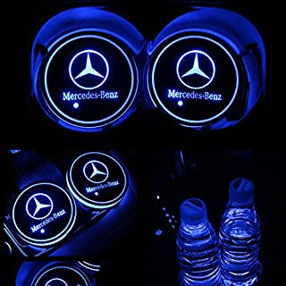 TaiFuMaoYi Led Car Cup Holder Mat Pad Waterproof Bottle Drinks Coaster Built-in Vibration Automatically Turn On at Dark Universal 7-Color Light 2-Packs(Mercedes-Benz)