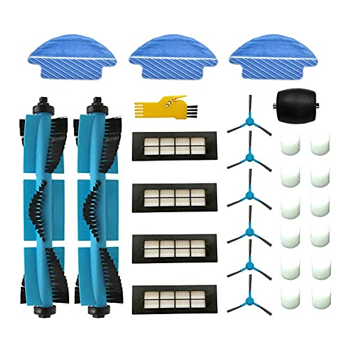 Laimaiou Kit de accesorios para Cecotec Conga Excellence 3090 Robot Aspirador Piezas de repuesto 28 paquetes Cepillo principal y filtro y cepillo lateral y paño de fregona y rueda delantera