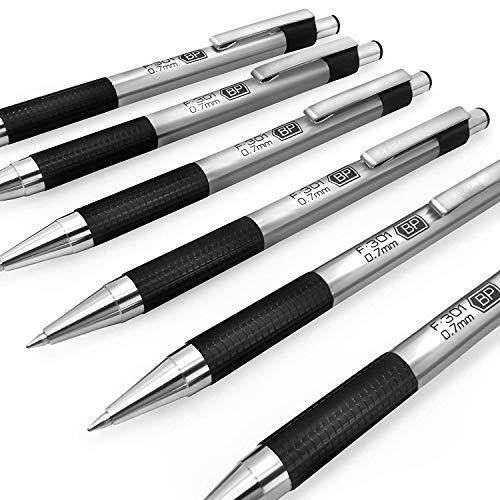 Zebra F-301 Druckkugelschreiber, Edelstahl, 0,7 mm, mittelgroß, blaue Tinte, schwarzer Schaft, 6 Stück