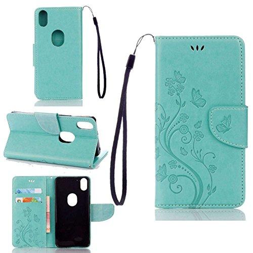 pinlu Funda para BQ Aquaris X5 Plus (5 Pulgada) Función de Plegado Flip Wallet Case Cover Carcasa Piel PU Billetera Soporte con Ranuras Mariposa Flores Verde