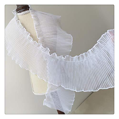 Jubaren7 10 cm de ancho cuello de tul elástico cordón de la gasa plisada gasa volantes de encaje de coser ajuste de la cinta de bricolaje manualidades ropa de la boda vestido de suministro Fuentes de