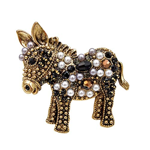 2 Color Choose Bead Donkey Brooches Women and Men Fashion Unisex Animal Pin Funny Cute Cartton Style Design Kid Gift