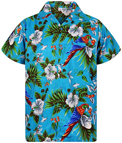 V.H.O. Funky Chemise Hawaienne, Cherry Parrot, Turquoise, L