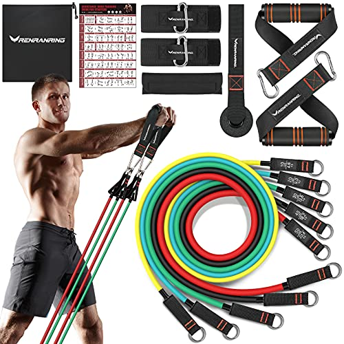 Resistance Bands with Handles - Exercise Bands Set for Door Anchor Attachment, Elastic Tube Bands for Exercise, Gym Equipment for Home Workout